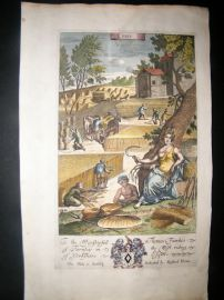 Richard Blome 1686 Hand Col Print. Ceres. Agriculture, Farming